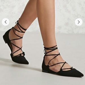 Black Faux Suede Lace-up Pointed Flats